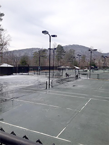 Big Canoe's clay courts look bizarrely existential in winter's bleak light. (Photo by Matt Motil)