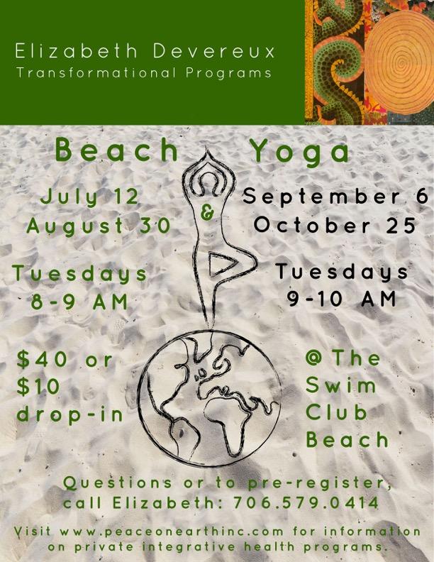 Beach yoga logo  in sand Elizabeth head
