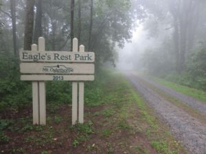 This sign marks the entrance to Eagle's Rest Park, a beautiful, living gift to the area by the Ken Rice family. (Photo by John Feight)