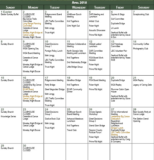 Calendar April Events : April events calendar inside the gates